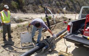 AquaBio Landfill Gas Team fusing landfill gas pipe Burbank, CA.