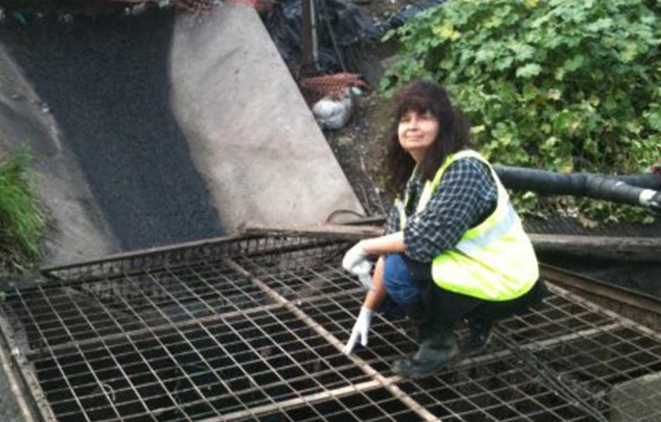 Deana Hayashi inspects leachate sump.