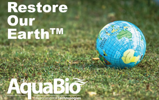 Restore Our Earth graphic showing globe resting on green lawn